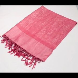 Pashmina women's pink scarf/shawl wrap with fringe